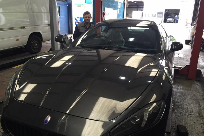 Maserati in the garage today….looking good!
